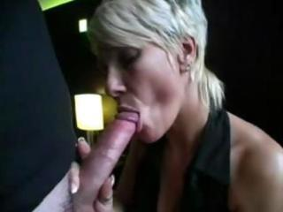 golden-haired milf sucks on a long dick and then