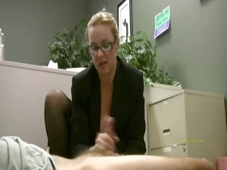 employee receives masturbated by his horny lady