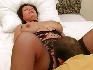 large breasted brunette wife in lingerie got