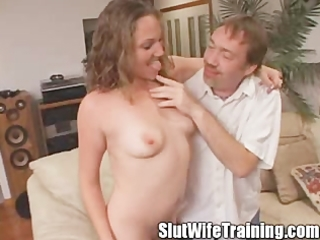 young whore wife eats her creampie