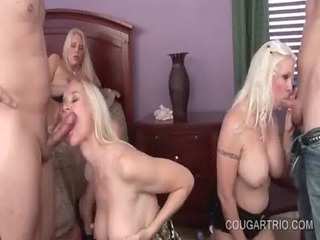 blonde cougar three-some engulfing and fucking
